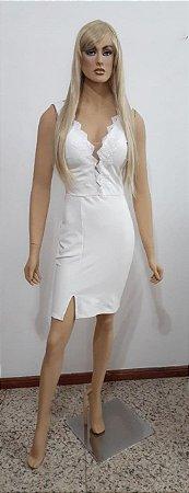 Vestido crepe de malha curto com tule e paetê