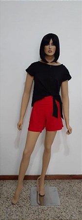 Shorts tecido plano de viscose com elástico cintura
