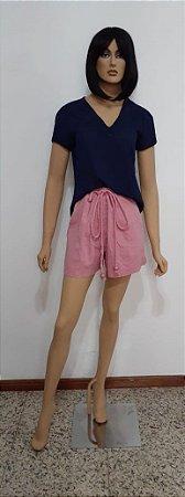 Shorts tecido plano com aplicação, Cinto e bolsos