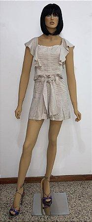 Shorts tecido plano com linho e  faixa de amarrar