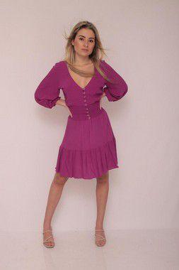 Vestido tecido plano curto decote v