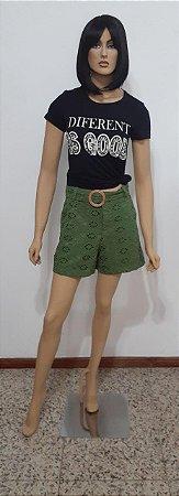 Shorts tecido plano laise bordado com cinto fivela