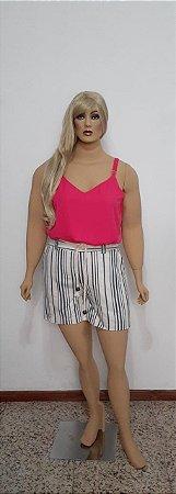Shorts listrado tecido plano linho com bolso frente e costas e cinto trançado
