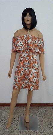 Vestido tecido plano estampa floral ciganinha