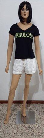T-shirt manga curta de malha gola v com silk