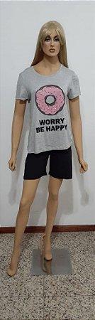 T-shirt de malha manga curta com aplicação