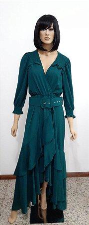 Vestido tecido plano longo com camadas na saia