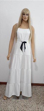 Vestido tecido plano longo com ajustador cintura