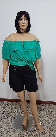 Shorts tecido plano linho com fivela e zíper lateral
