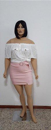 Shorts saia tecido plano com bolso e cinto fivela