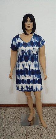 Vestido de malha manga curta tie dye