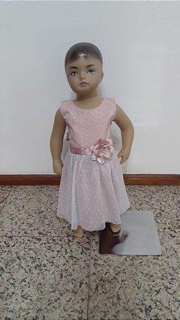 Vestido festa tecido plano poá e floral liso com tule