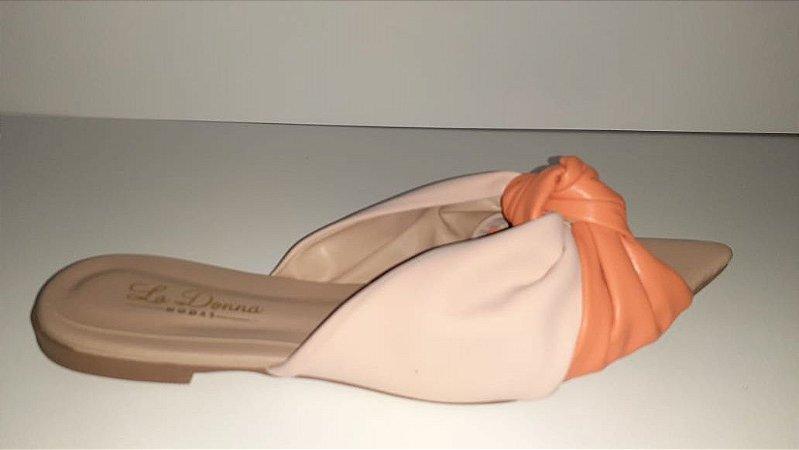 Rasteirinha nude e laranja com nozinho
