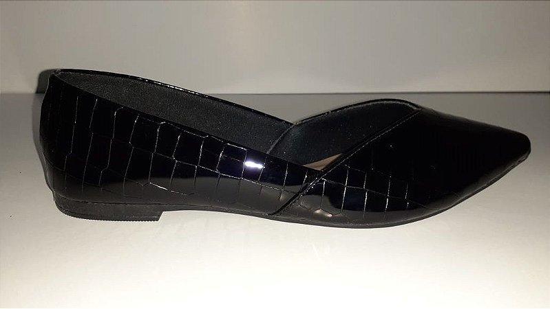 Sapatilha verniz croco preta elegance