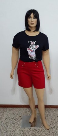 T-shirt manga curta de malha com paetê