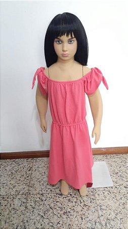 Vestido malha com elástico na cintura estilo ciganinha