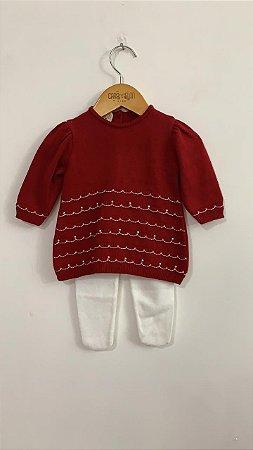 Vestido crochê com bordado e pérolas+calça crochê