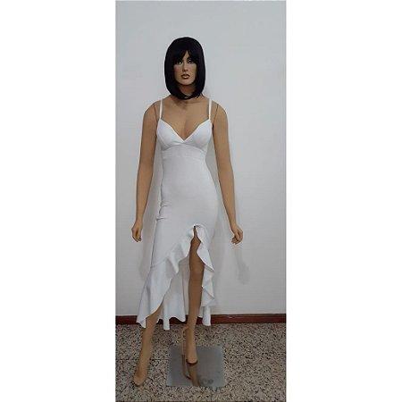 Vestido de malha longo alcinha em lurex com babado na barra e abertura frente