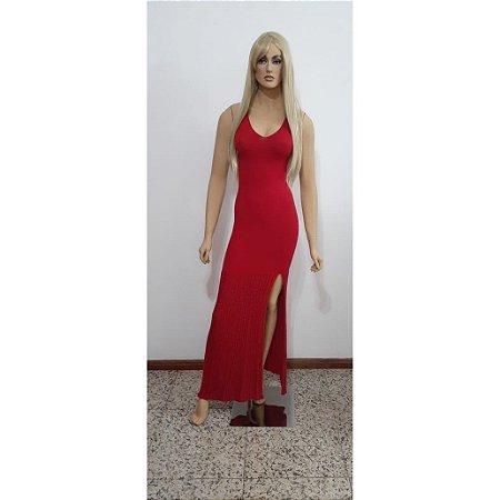 Vestido de tricot longo com lurex