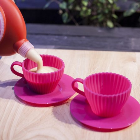 Conjunto 2 Xícaras em Silicone Culinário para CupCake Gelatina e Pudim