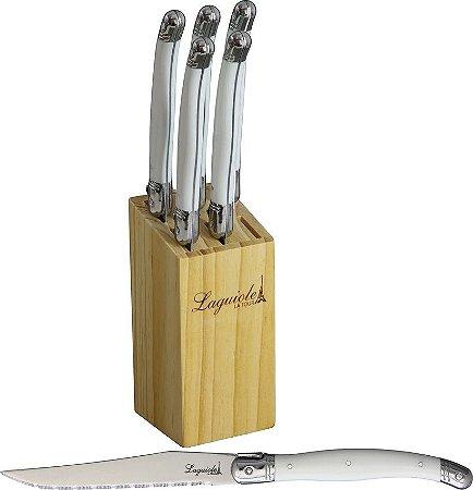 Conjunto de 6 facas Luxo Branco - Laguiole La Tour