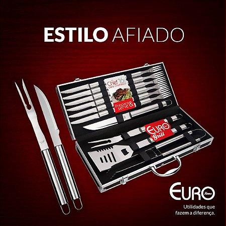 Conjunto Chef para Churrasco com Maleta 16 peças Inox- Euro Home