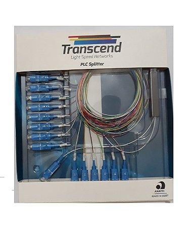 SPLITTER 1x16 COM CONECTORES SC/UPC TRANSCEND HOMOLOGADO