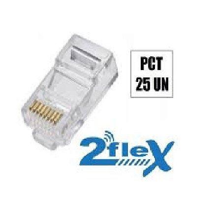 CONECTOR RJ45 MACHO SIMPLES 2FLEX RJ45 PACOTE COM 25 UND