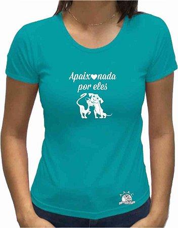 """Camiseta """"Apaixonada por Eles"""" - Cor JADE (Tradicional e Baby Look)"""