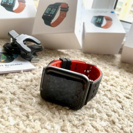 SmartWatch A6 - Cinza e vermelho