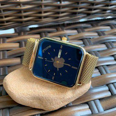 Relógio Iphone - Dourado e Azul