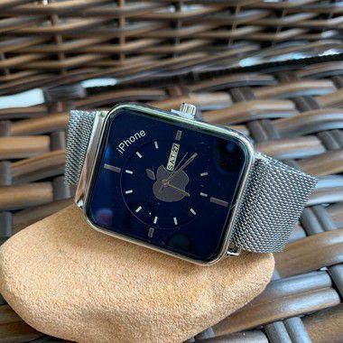 Relógio Iphone - Prata e Azul