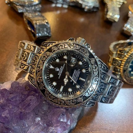 Relógio Rolex Caveira (Skull) prata fundo Preto
