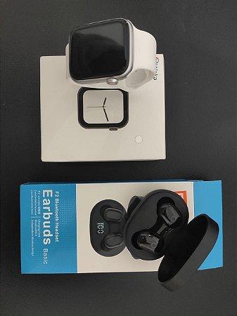 KIT Iwo 8 LITE branco + Earbuds Xiaomi