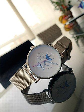 Relógio Ômega Prata e Branco
