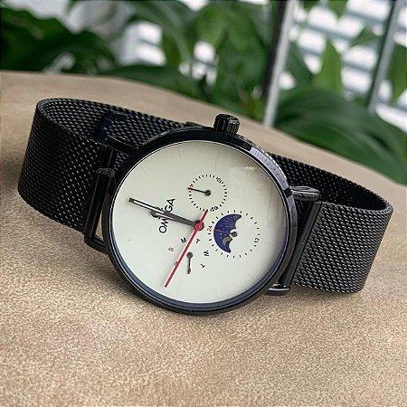 Relógio Ômega Preto e Branco