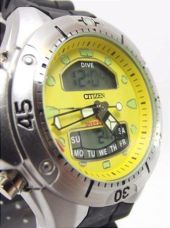 Citizen Dive Prata e Amarelo  + vedação a prova dágua grátis