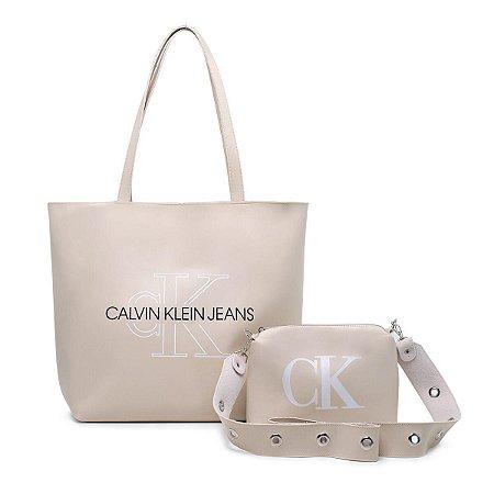 Bolsa Ck grande + bolsa pequena de BRINDE - Bege