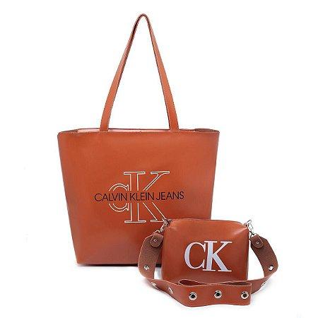Bolsa Ck grande + bolsa pequena de BRINDE - Marrom