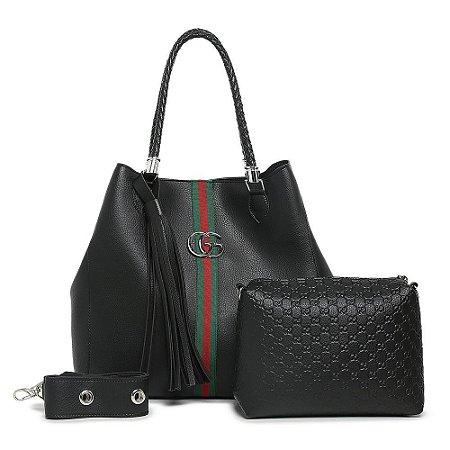 Bolsa Gucci grande + bolsa pequena de BRINDE – Preta