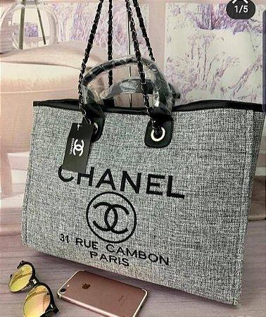 Bolsa Chanel Tecido - Cinza com Preto