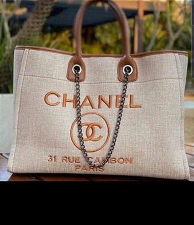 Bolsa Chanel Tecido - Bege com Marrom