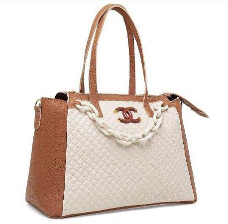 Bolsa Chanel N°07 - Bege e Marrom
