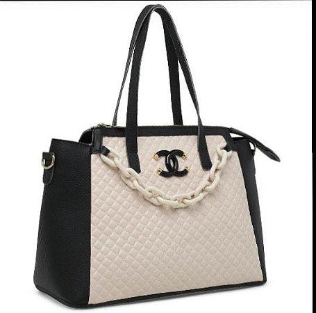 Bolsa Chanel N°07 - Preta e Bege
