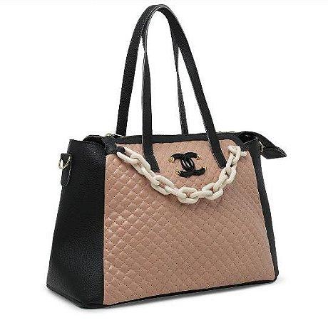 Bolsa Chanel N°07 - Preta e Rose