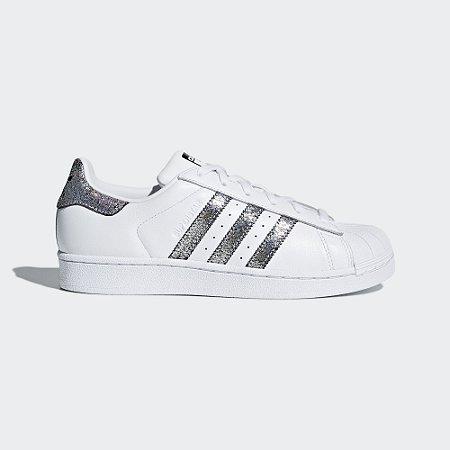 0b17b40aab0 Tenis Adidas Superstar Feminino Branco com Metalizado - Sportlet ...