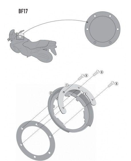 Flange de encaixe e fixação de Bolsas Givi TankLock - para BMW R1200 GS Adventure (LC)