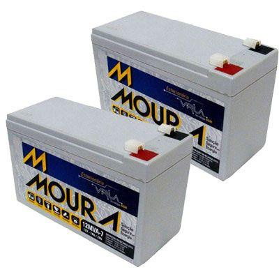 Kit com 2 Baterias para No-Breaks 12 Volts 7 Ampêres Moura
