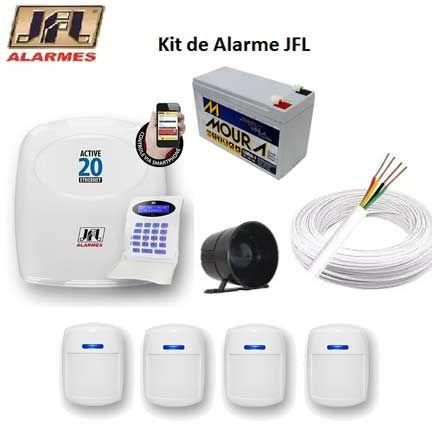 Kit Central de Alarme Com Fio Active 20 Ethernet com 4 Sensores JFL