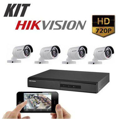 Kit DVR 720p 4 Canais + HD WD Purple 1TB + Acessórios + 4 Câmera IR 20m 3.6mm 720p 1MP HIKVISION